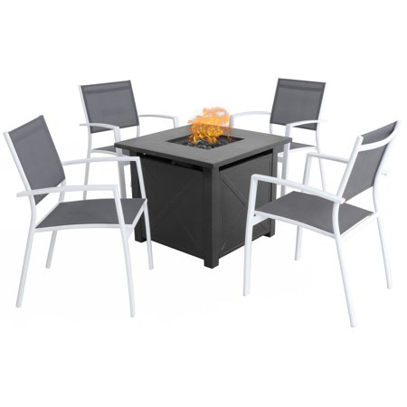 Hanover Naples 5-Piece Fire Pit Chat Set: 4 Sling Chairs and 40,000 BTU Tile-Top Fire Pit Table w/ Burner Cover, White/Gray