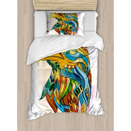 Eagle Twin Size Duvet Cover Set, Ethnic Inspired Bald Eagle Pattern with Oriental Color Scheme Flying Animal Design, Decorative 2 Piece Bedding Set with 1 Pillow Sham, Multicolor, by Ambesonne