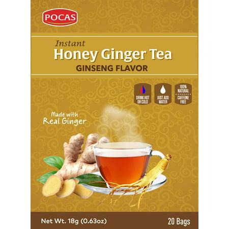 Ginseng Tea 20 Bags - Pocas Honey Ginger Tea, Ginseng, 12.7 Ounce, 20 Bags (Pack of 2)