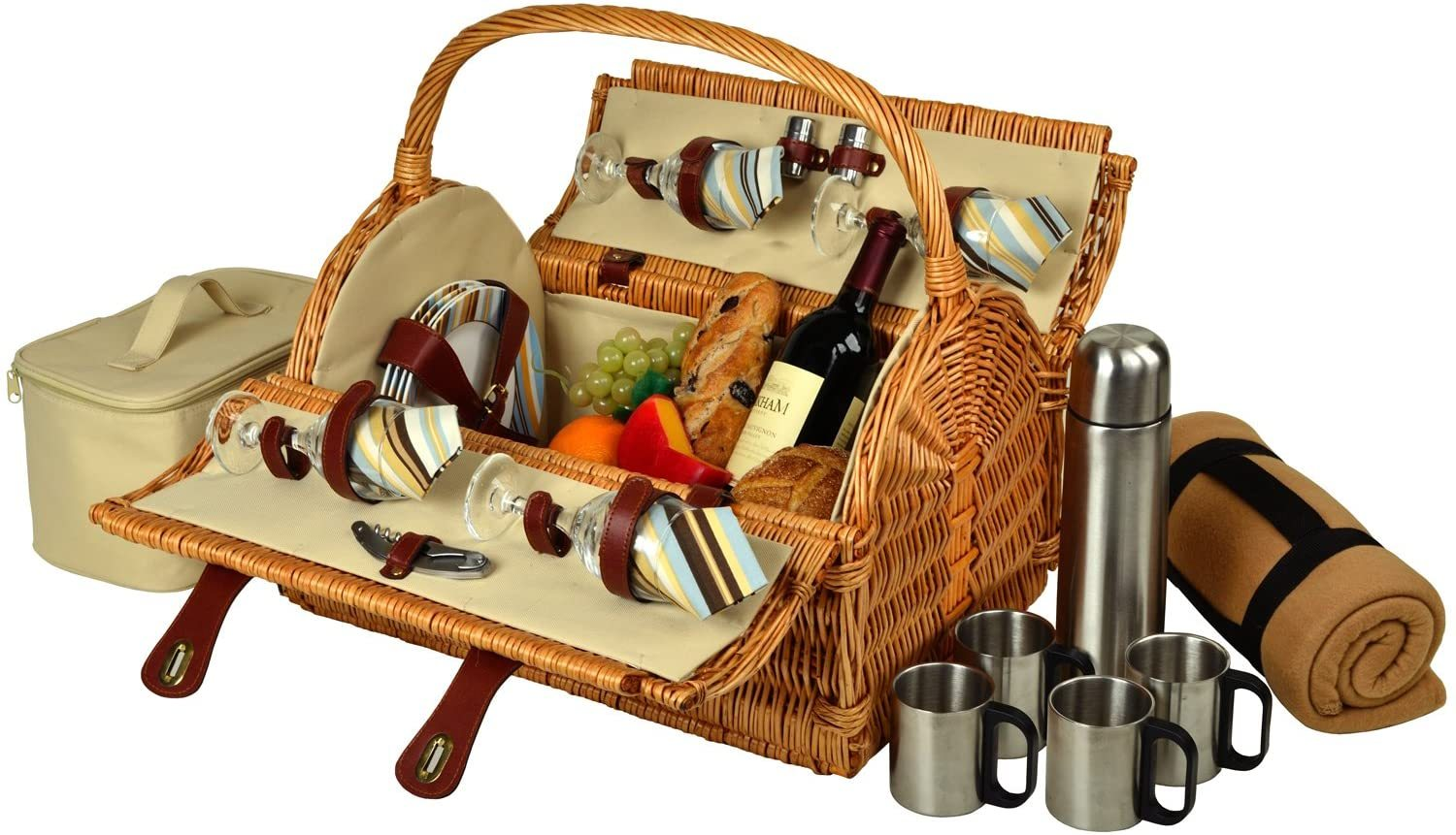 D York Picnic Basket For 4 With Blanket And Coffee Set For Outdoor Green Stripes Walmart Com Walmart Com