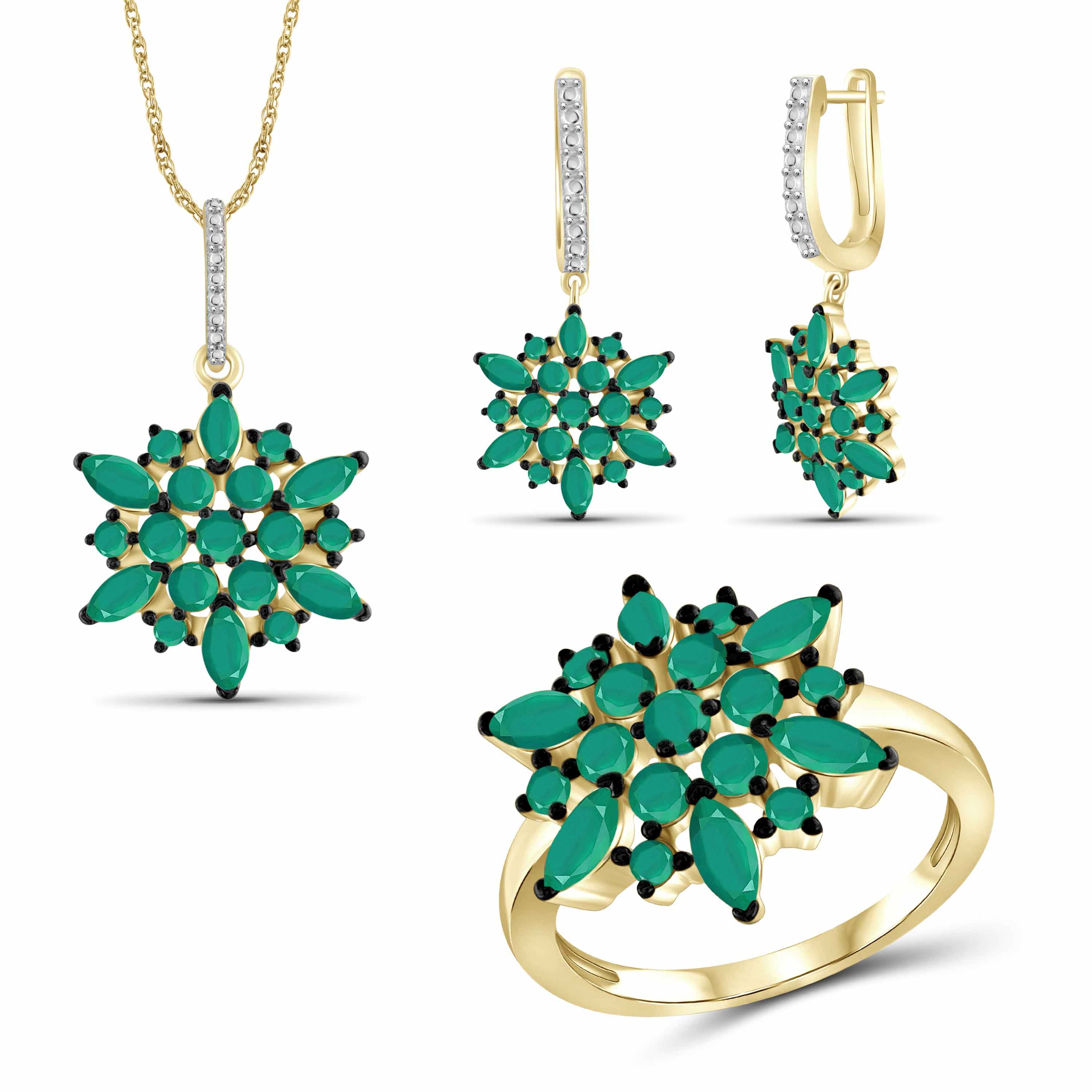 JewelersClub 7.00 Carat T.G.W. Emerald 14K Gold over Silver 3-Piece Jewelry set