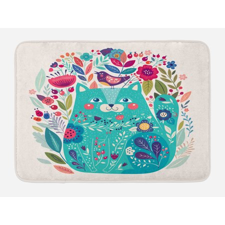 Cat Bath Mat, Cute Kitty Surrounded by Birds Flowers Ladybugs Inspirational Folk Baby Theme, Non-Slip Plush Mat Bathroom Kitchen Laundry Room Decor, 29.5 X 17.5 Inches, Seafoam Multicolor, Ambesonne