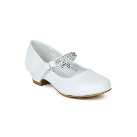 Little Angel Daisy-759E New Girl Round Rhinestone Strap Kiddie Heel Pump - White Toms For Girls