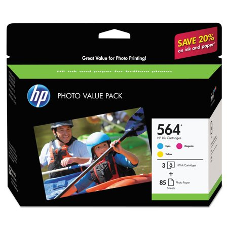 HP 564 Cyan/Magenta/Yellow Ink Cartridges with Photo Paper and Cards, 3-Pack (J2X80AN) (Hp Printer Cartridge 564)