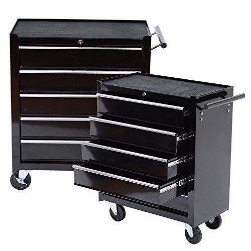 Tenive Rolling Tool Cabinet Chest 24 Inch Wide 5 Drawers Roller Box Storage With Wheels Black
