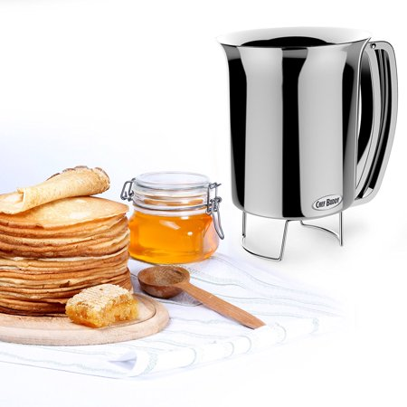 Pancake Batter Dispenser- Gourmet Stainless-Steel Pourer- Perfect for Baking Cupcakes, Waffles, Cakes, and Muffins- No Drip Dispenser by,.., By Chef