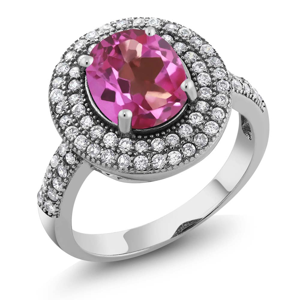 3.90 Ct Oval Pink Mystic Topaz 925 Sterling Silver Ring by