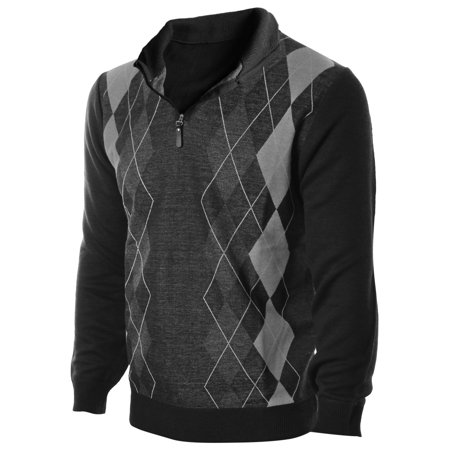 Enimay Mens Argyle Zip Up Golf Long Sleeve Zipper Sweater Classic Grey 2 Size S