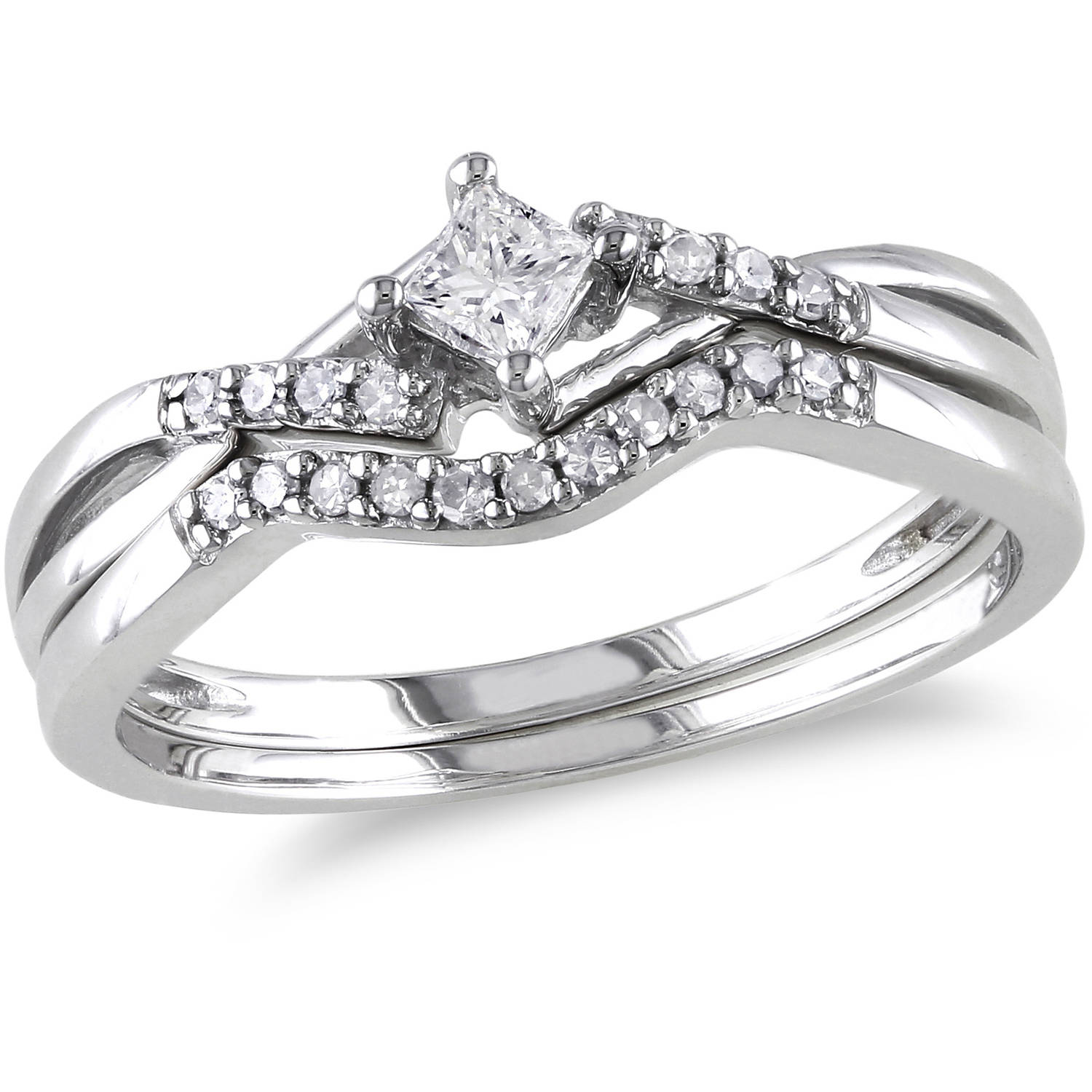 Miabella 1/5 Carat T.W. Princess and Round-Cut Diamond Sterling Silver Bridal Set