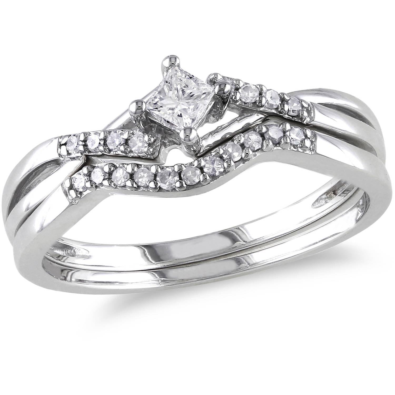 Miabella 1/5 Carat T.W. Princess and Round-Cut Diamond Sterling Silver Cross-Over Bridal Set