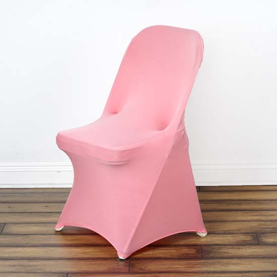 5PCS Stretchy Spandex Fitted Folding Chair Cover, Rose Quartz