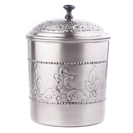 """- 4 Qt. Antique Embossed """"Victoria"""" Cookie Jar w/Fresh Seal Cover"""