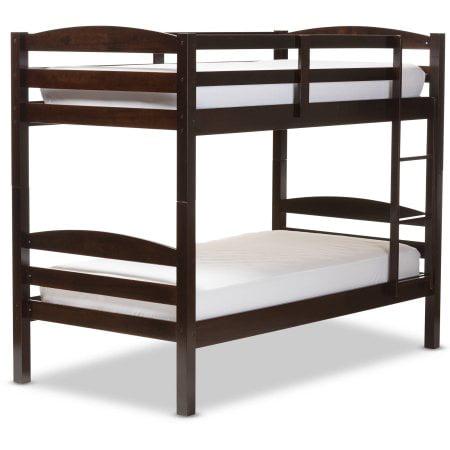 Baxton Studio Crimson Twin Over Twin Solid Wood Bunk Bed Dark Brown