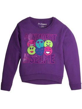 Girls Green Purple Glitter Confident In My Selfie Sweatshirt Sweat Shirt