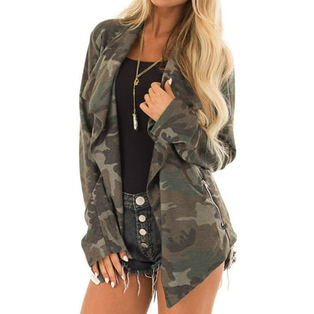 Starvnc Women Long Sleeve Camouflage Asymmetric Hem Pocket Cardigan