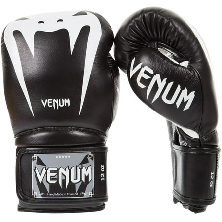 Venum Giant 3.0 Nappa Leather Hook and Loop Boxing Gloves - 12 oz. - Black/White