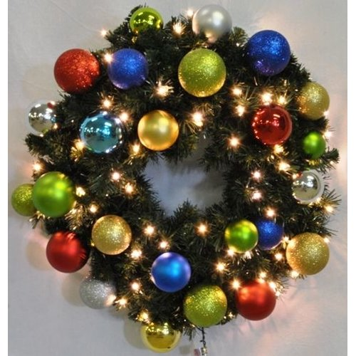Queens of Christmas Pre-Lit Sequoia Wreath Decorated with Fiesta Ornament