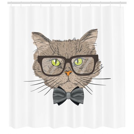 Geek Shower Curtain Portrait Drawing Of A Cat With Bowtie And Glassess Urban Style