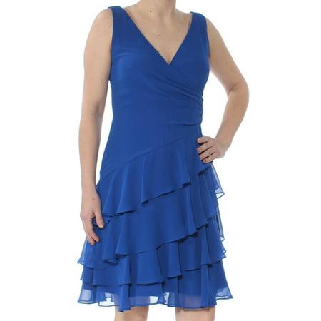 RALPH LAUREN Womens Blue Tiered Ruffled G Sleeveless V Neck Above The Knee Fit + Flare Party Dress  Size: 2](Ralph Lauren Halloween Party)