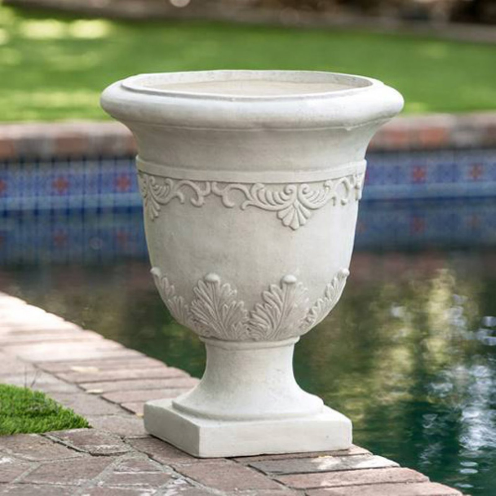 Best Selling Home Antique Gray Moroccan 20 in. Urn Planter