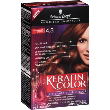Schwarzkopf Keratin Color AntiAge Hair Color Kit 43 Red Velvet Brown  Wal