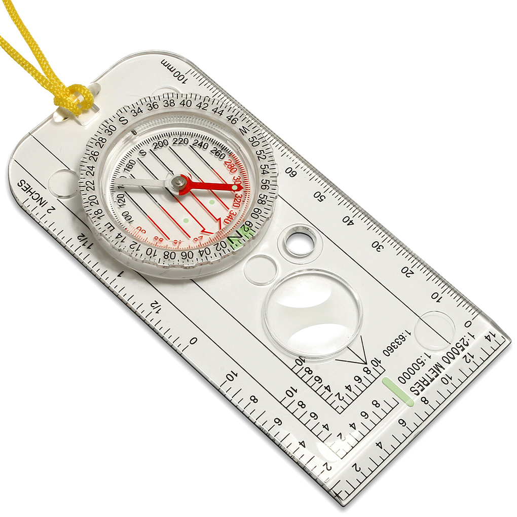 Educational Map Compass With Ruler and String