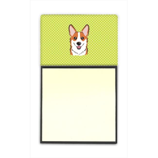 Checkerboard Lime Green Corgi Refiillable Sticky Note Holder Or Postit Note Dispenser, 3 x 3 In. - image 1 de 1