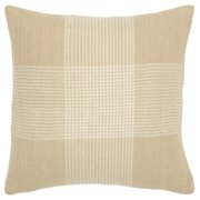 """Rizzy Home Decorative Down Filled Throw Pillow Plaid 20""""X20"""" Natural"""