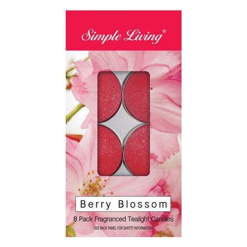 Simple Living 8pk Tealight Berry Blossom