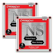 ChromaCast Nickel Steel 5-String Bass Guitar Strings, Medium Light Gauge(45-128), 2 Pack