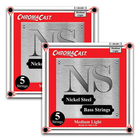 ChromaCast Nickel Steel 5-String Bass Guitar Strings, Medium Light Gauge(45-128), 2