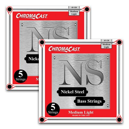 - ChromaCast Nickel Steel 5-String Bass Guitar Strings, Medium Light Gauge(45-128), 2 Pack