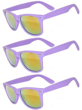 03c58fe8844 Product Image Retro Matte 80 s Vintage Party Sunglasses Purple Frame Yellow Lens  OWL (3 Pack)
