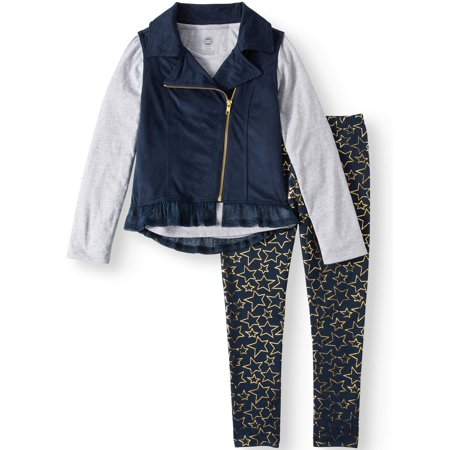 Moto Vest, Chiffon Hem Top, and Legging, 3-Piece Outfit Set (Little Girls & Big Girls)
