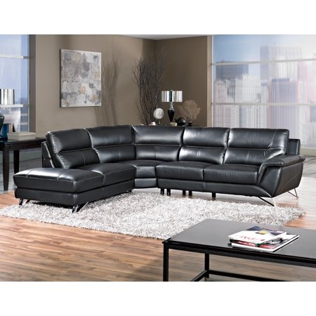 Awesome Black Bonded Leather Sectional Sofa Living Room Furniture White Stitching Chaise Loveseat Corner Wedge Family Couch Pabps2019 Chair Design Images Pabps2019Com