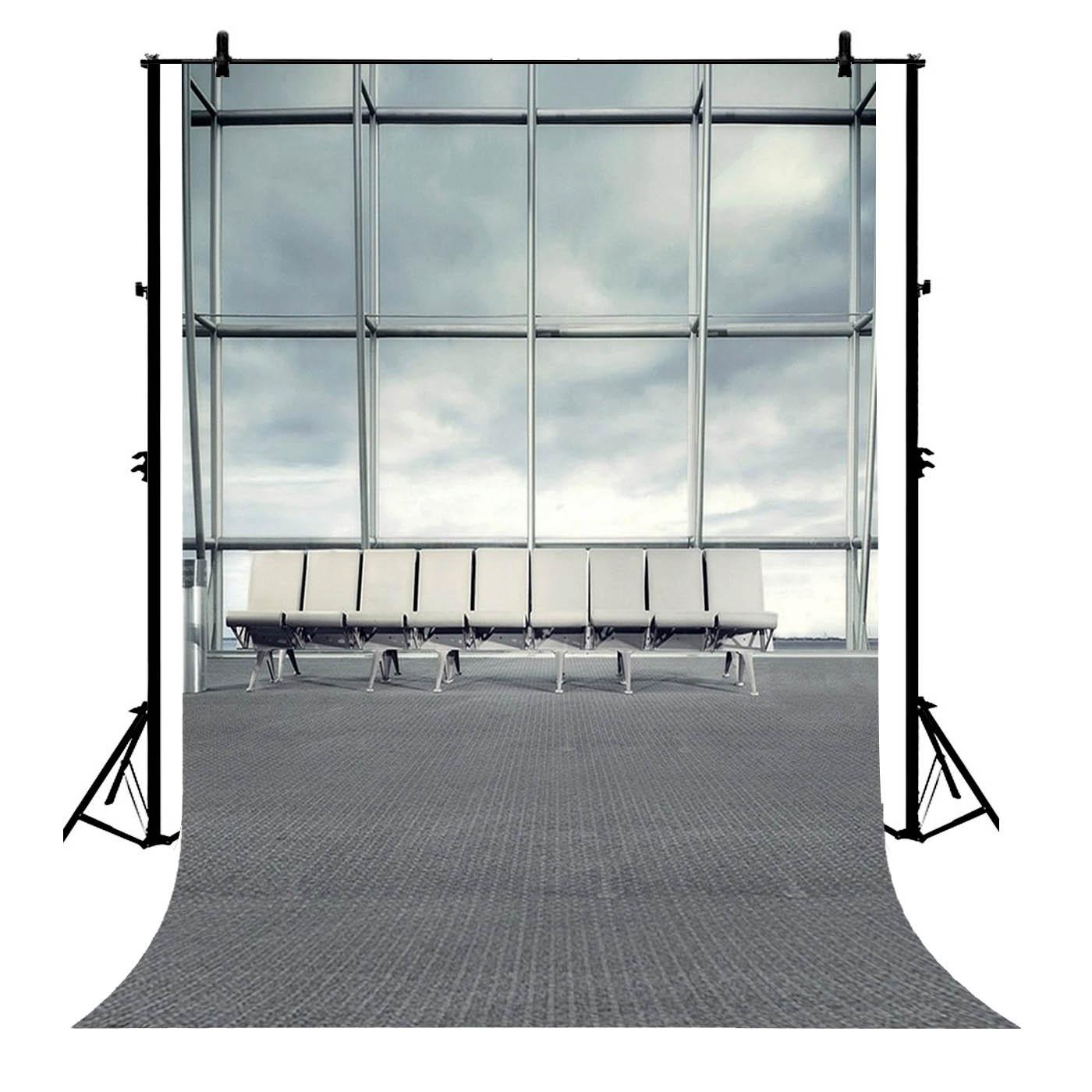 GCKG 7x5ft Artistic Wedding Airport Window Lounge Chairs Blurry Floor Adults Child Scene Indoor Girl Polyester Photography Backdrop Photography Props Studio Photo Booth Props - image 4 of 4