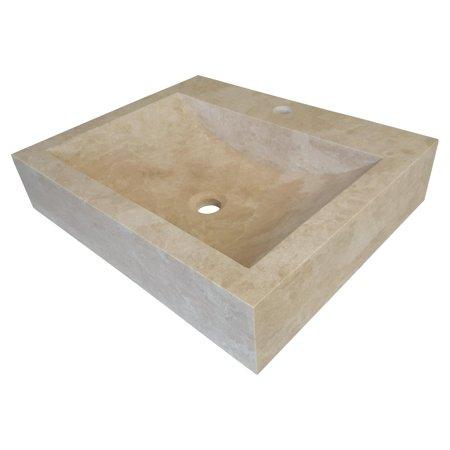 TashMart TM101 Rectangular Natural Stone Vessel Sink