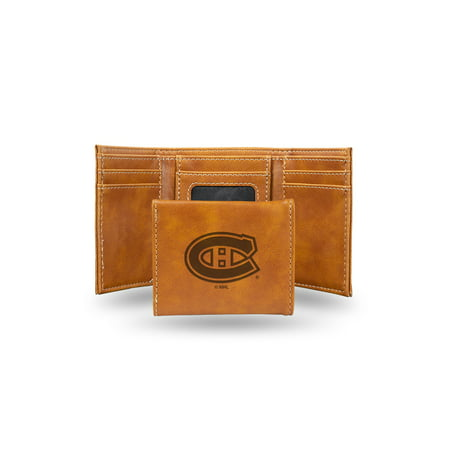 Montreal Canadiens  Laser Engraved Brown Trifold Wallet