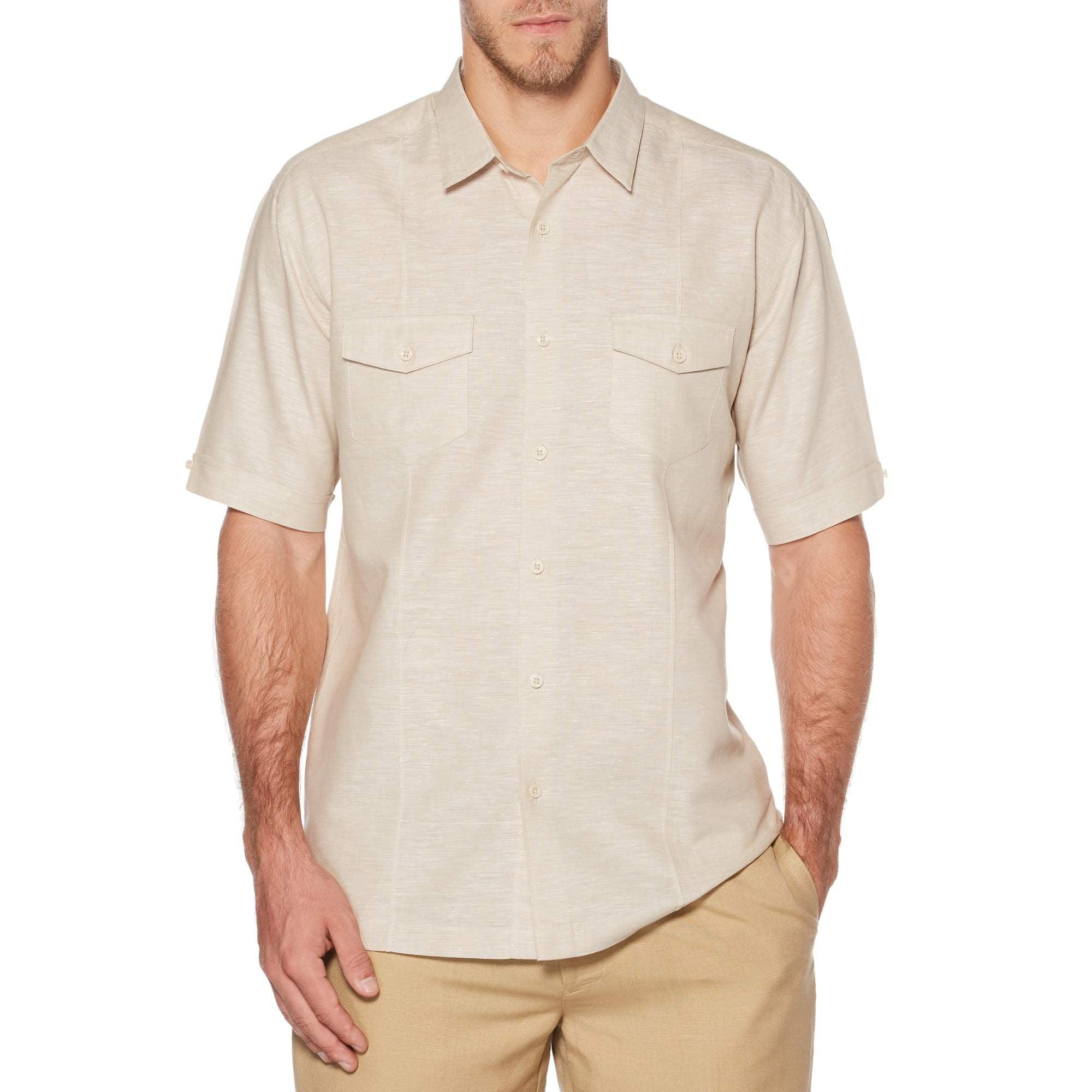 Big Men's Short Sleeve Linen Cotton Single Tuck Woven Shirt with Upper Pockets