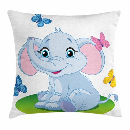Nursery Throw Pillow Cushion Cover Cute Baby Elephant Sitting On The Meadow In Spring Time With Erflies Decorative Square Accent Case 20
