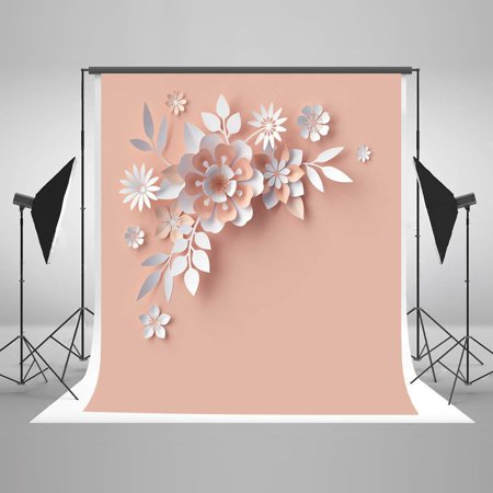 GreenDecor Polyster 5x7ft 3D Flower Background for Photography Pink Backdrop Photo Booth Props Darksalmon - Backdrop For Photo Booth