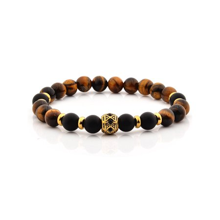 Tiger's Eye and Matte Onyx Stone Stainless Steel Beaded (Mexican Onyx Bracelet)