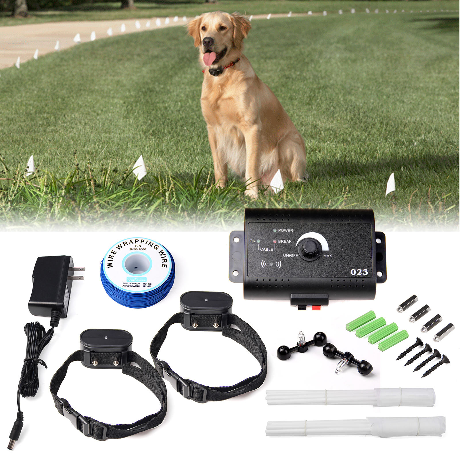 in ground electric dog pet fence containment system 2 shock collars for 2 dogs