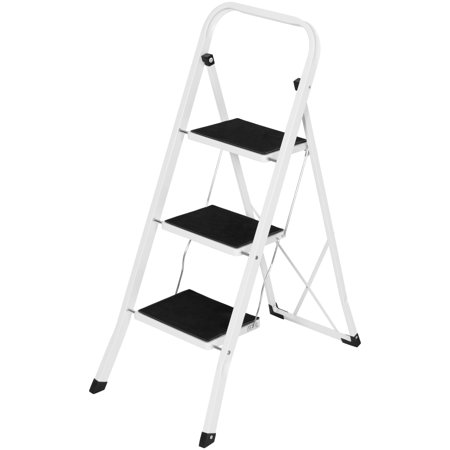 Best Choice Products Portable Folding 3 Step Ladder Steel Stool 300lb Heavy Duty Lightweight ()