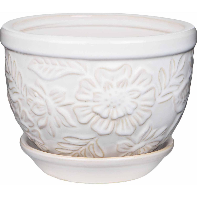 Image of Pennington Ceramic Vintage Floral Pot/Planter, 6 inch