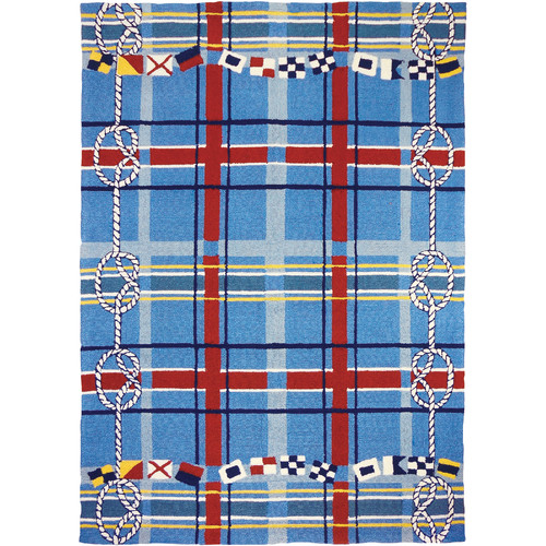 Homefires Nautical Plaid Blue Indoor/Outdoor Area Rug