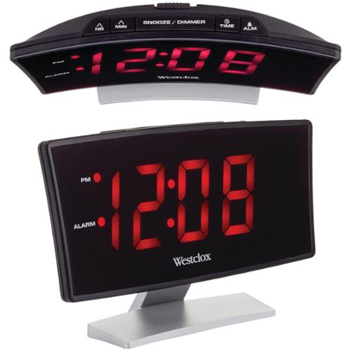 Westclox 71018 Curved Led Digital Alarm Clock W/ Snooze