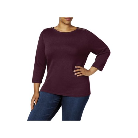 Karen Scott Womens Plus Knit 3/4 Sleeves Pullover Sweater