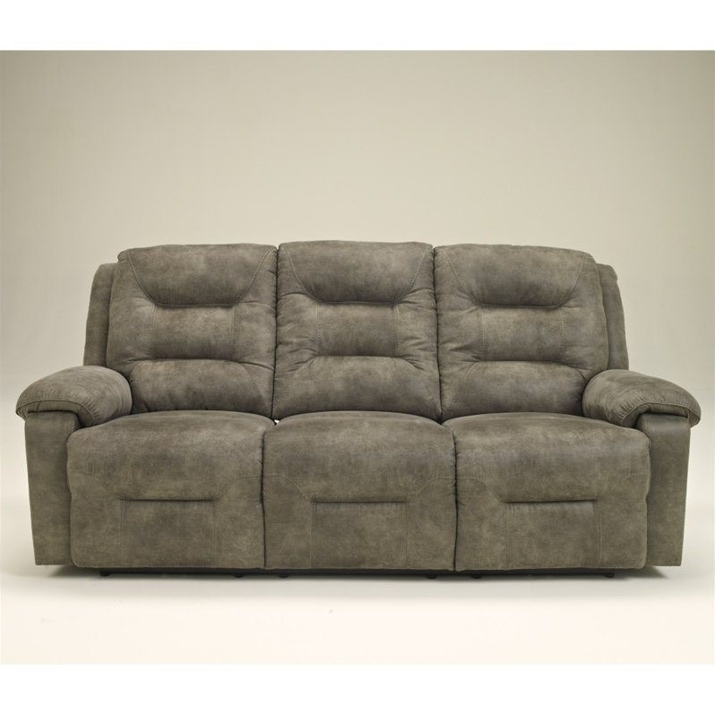 Signature Design By Ashley Furniture Rotation Microfiber Reclining Sofa In  Smoke