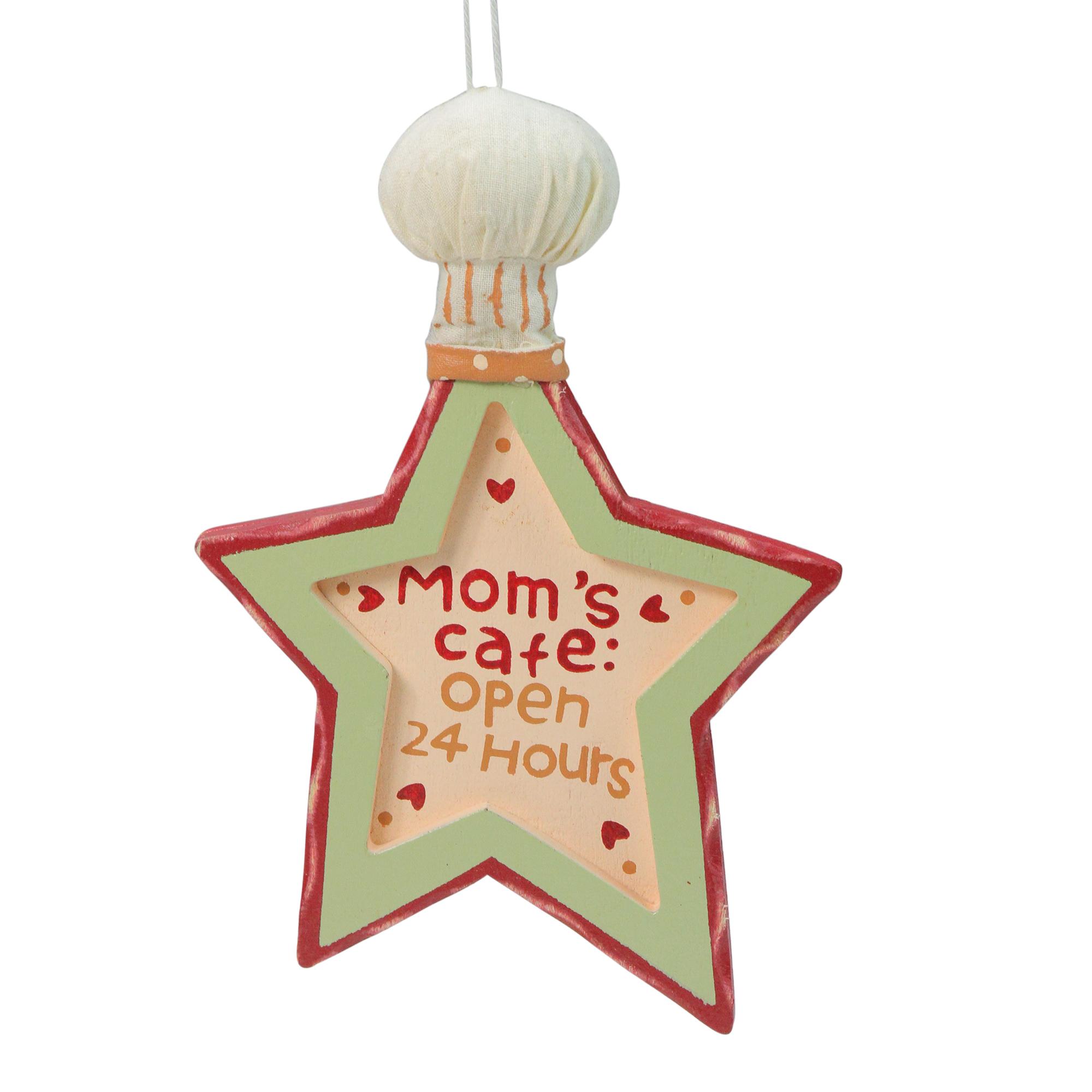 "Kurt Adler 6"" Mom's Kitchen ""Mom's Cafe Open 24 Hours"" Star Chef Hat Christmas Ornament - White/Red"